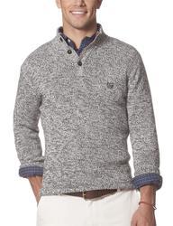 Chaps Men's 3 Button Mock Neck Sweater - Black Twist - Size: XL