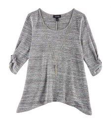 A. Byer Women's Necklace & Sharkbite Hem Top - Grey - Size: Small