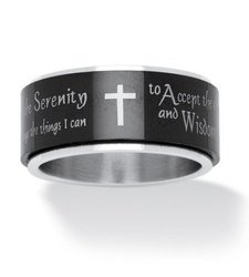 Plam Beach Men's Ion-Plated Serenity Prayer Cross Band Ring - Black