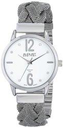 August Steiner Ladies Twist Mesh Watch - Silver/White (ASGP8092WT)