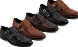 Xray Men's Double Monk Strap Shoes - Kimbel Black - Size: 9.5