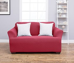 Plush Stretch Fit Form Fitting Heavyweight Slipcover: Loveseat/burgundy