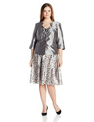 Dana Kay Women's Plus-Size Satin Animal Print Skirt - Silver - Size: 14
