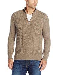 Izod Men's 1/4 Zip Aran Sweater - Taupe Heather - Size: Large