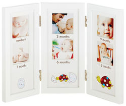 First Year 3 Panel Frame with Turtle Icons - White - Size: 12''x8.25''