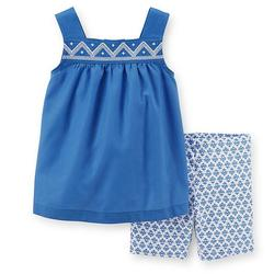Carter's Girls  Embroidered Tank Top &  Shorts Set - Blue - Size: 4T