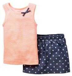 Carter's Girls Striped Tank Top & Polka Dot Skort Set - Chambray - Sz:2-4T