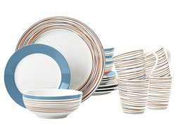 Mcleland Design Stripes 16 Piece Porcelain Dinnerware Set - Blue