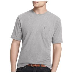 Men's IZOD Solid Pocketed Crewneck Tee Gray Bar - Size: XXL