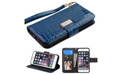 Leather Crocodile Case Stand Wallet for iPhone 6/ 6s Plus - Blue (2178228)