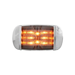 Grand General 76255 Amber Rectangular Camel Back Wide Angle 14-LED Marker and Clearance Sealed Light with Clear Lens and Chrome Bezel