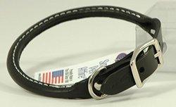 Auburn Leathercrafters Rolled Dog Collar - Black - 10