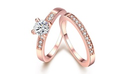 Rubique Jewelry 18K Rose Gold Pave 2pc Set Swarovski Elements Ring -Size:5
