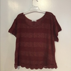 Lush Short Sleeves Sweater - Red - Size: Small