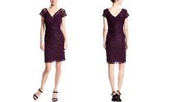 Scarlett Lace Cocktail Dress - EggPlant - Size: 22 (L/S)