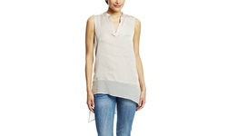 Spense Sleeveless Blouse with Asymmetrical Hem - White - Size: Small