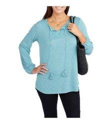 Faded Glory Women's Long Sleeve Split Neck Top - Teal Sea - Size: M
