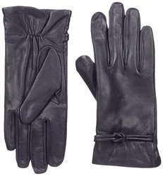 Isotoner Women's Leather Gloves with Fleece Lining - D Purple - Size: 6.5