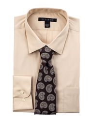 Ivy Crew Men's 2PC Fit Solid Color Dress Shirt Box Set - Taupe - Size: 15""