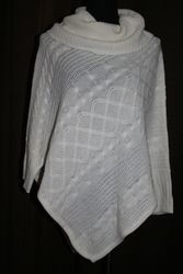 Hannah Women's Egret Cable Knit Poncho - White - Size: Large