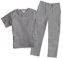 Natural Uniforms Women's Contrast Trim Scallop Scrub Set -  Grey - Size: XL