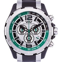 Chronograph Watch: Weil & Harburg 14144 Silver-Black Band-Green-Black Dial