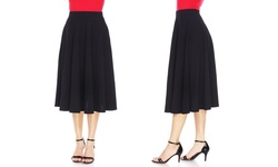 White Mark Women's Flared Midi Skirt with Pockets - Red - Size: Small