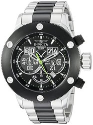 Invicta Men's chrono Show #6: 20164SYB/Silver-Black Band-Black-Green Dial