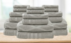 Finest Combed Cotton Diamond Solid & Jacquard Towel 18 Pcs Sets - Gray