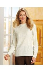 Alfred Dunner Solid Cable Knit Layered Look Cardigan  - Ivory - Size: S