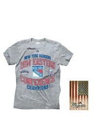 Majestic Athletic NHL New York Rangers Men's Crew Tee - Grey -Size: XL