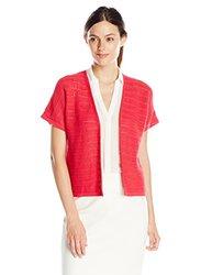 Jones New York Women's Open Cardigan Sweater - Raspberry - Size: XL