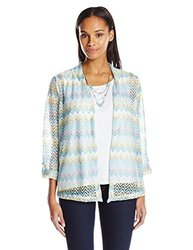 Alfred Dunner Women's Zig Zag Top with Necklace -  Multi - Size: S