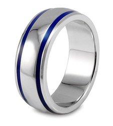 West Coast Jewelry Men's Blue Enamel Groove Domed Ring - Size: 13