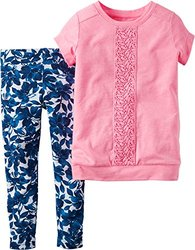 Carter's Baby Toddler Girl's Pink Top Legging Set  - Pink - Size: 4T