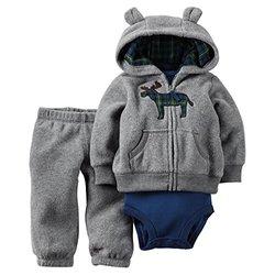 Carter's Baby Boys 3-Piece Cardigan Set Grey Plaid Moose - Size: 12M
