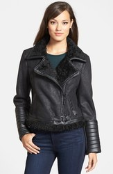 Kensie Women's Faux Shearling Moto Jacket - Size X Small - Black