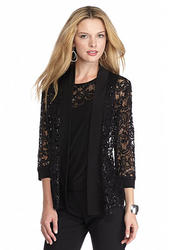 RM Richards Lace and Sequin Twinset - Black - Size: L