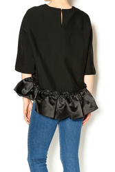 Short Sleeve Top with Ruffle Detail - Black - Size: Small