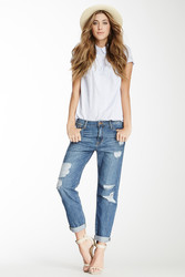 Sneak Peek Denim Medium Relaxed Destroyed Jean - Blue - Size: Small