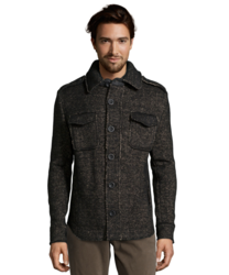 Slate & Stone Wool Blend 'parker' Jacket - Black Melange - Size: Medium