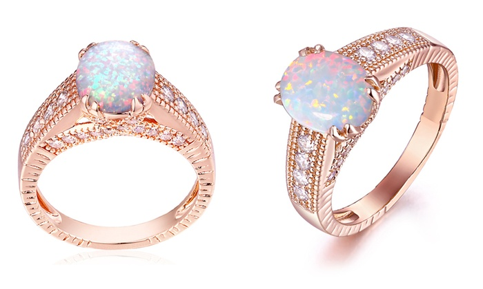 Barzel 18K Gold Rose Gold White Fire Opal Engagement Ring Size