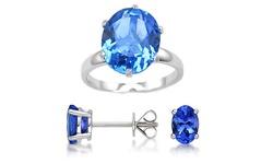 Women's 3Pc 7.00 CTTW Genuine Tanzanite Ring & Earrings Set - Blue - Sz: 6