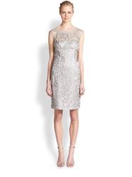 Sue Wong Lace Illusion Yoke Cocktail Dress - Platinum - Size: 6