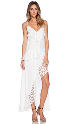Stevie Lace Womne's Trim Split Dress - White - Size: Small