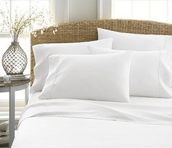 iEnjoy Home 6-Piece Wrinkle Free Bed Sheet Set - White - Size: Queen