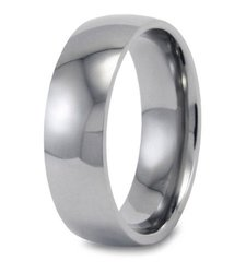Women's Domed Polished Titanium Band - Silver - Size: 8