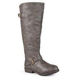 Journee Collection Women's Extra Wide Calf Riding Boots - Taupe - Size: 10