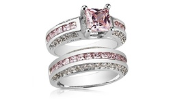 Clear Crystal 2.5CT Women's Pink Sapphire Princess Cut Ring - WG - Size: 7