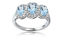Silver Speck 2.3cttw Blue & White Topaz 3 Stone Ring - Size: 7
